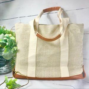 Bath & Body Works Cream/Tan Burlap Tote Bag
